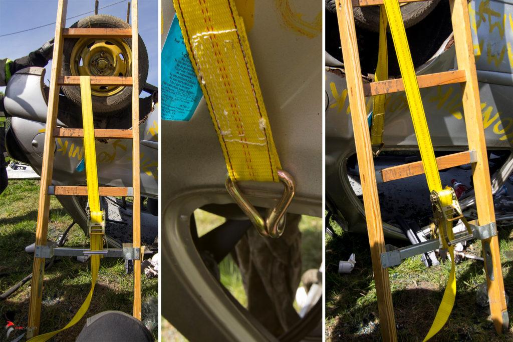 Stabilizacja samochodu na dachu z wykorzystaniem drabin i pasów